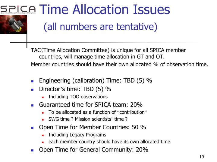Time Allocation Issues