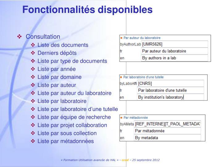 Fonctionnalités disponibles