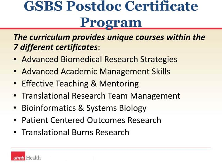 GSBS Postdoc Certificate Program