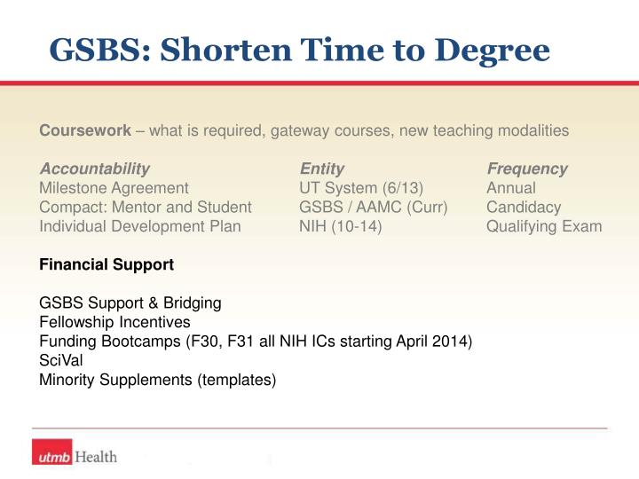 GSBS: Shorten Time to Degree