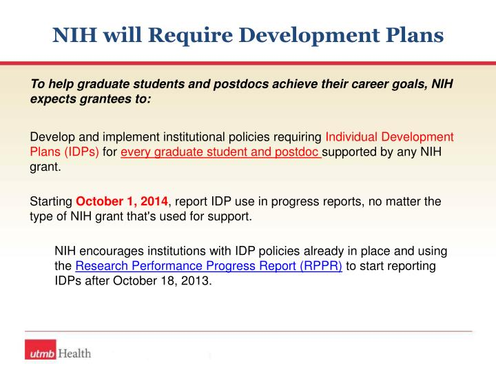 NIH will Require Development Plans