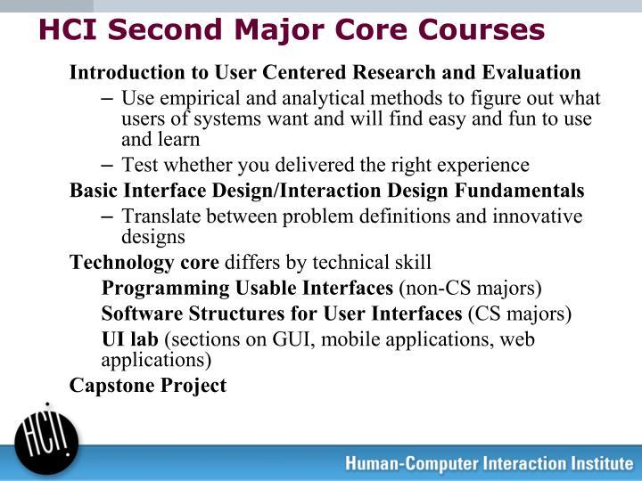 HCI Second Major Core Courses