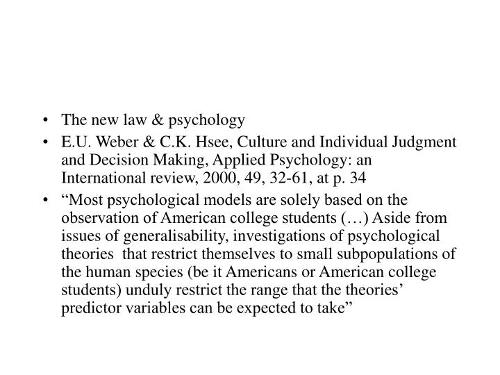 The new law & psychology
