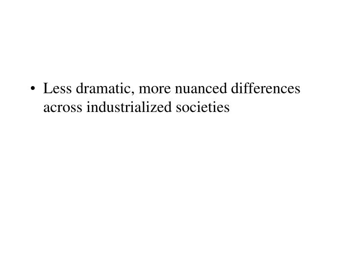 Less dramatic, more nuanced differences across industrialized societies