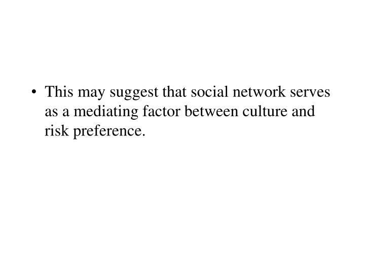 This may suggest that social network serves as a mediating factor between culture and risk preference.