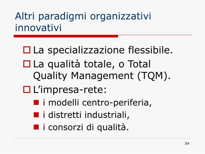 Altri paradigmi organizzativi innovativi