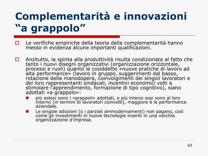 """Complementarità e innovazioni """"a grappolo"""""""