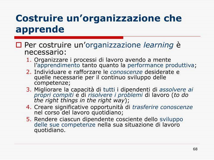 Costruire un'organizzazione che apprende