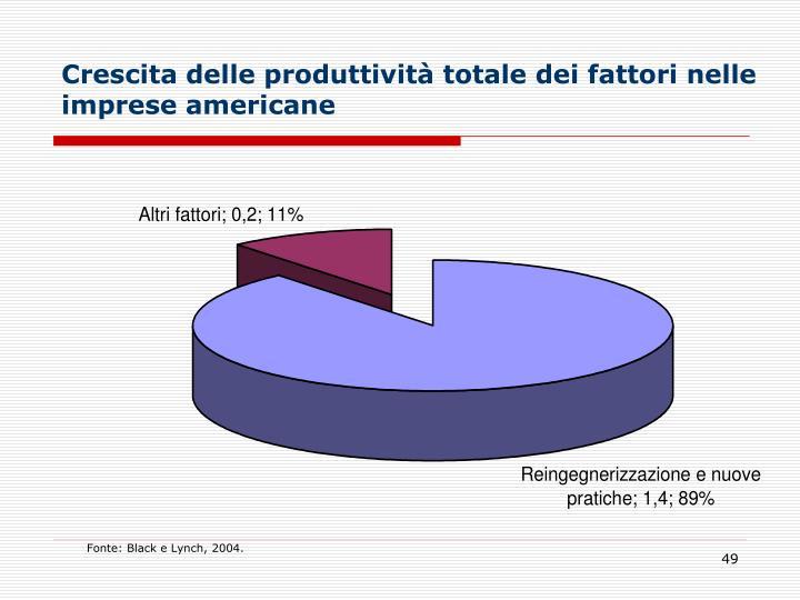 Crescita delle produttività totale dei fattori nelle imprese americane