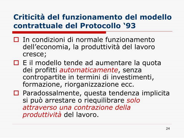 Criticità del funzionamento del modello contrattuale del Protocollo '93