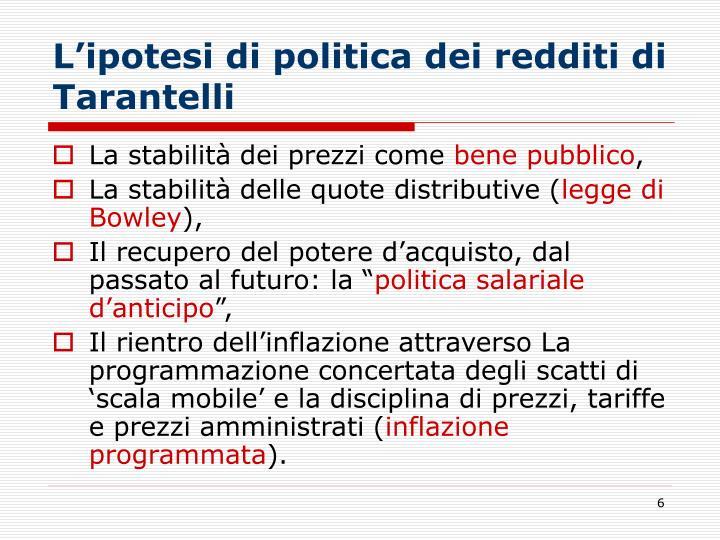 L'ipotesi di politica dei redditi di Tarantelli