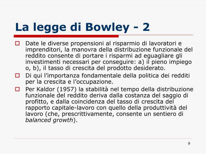 La legge di Bowley - 2