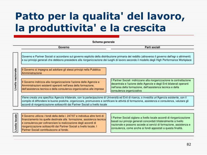Patto per la qualita' del lavoro, la produttivita' e la crescita
