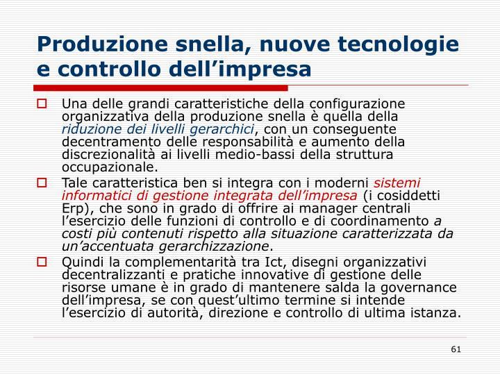 Produzione snella, nuove tecnologie e controllo dell'impresa