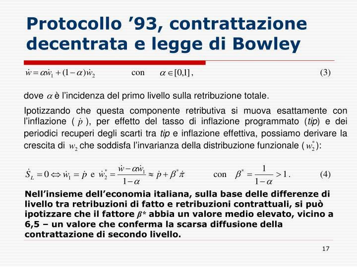 Protocollo '93, contrattazione decentrata e legge di Bowley