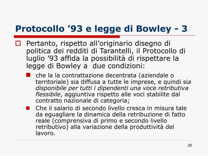 Protocollo '93 e legge di Bowley - 3