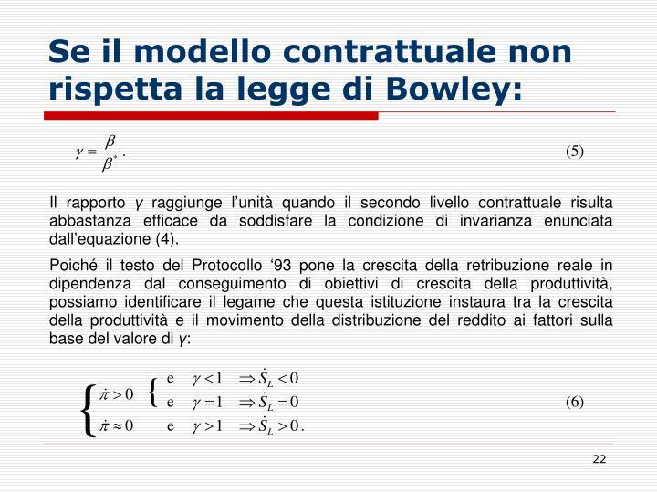 Se il modello contrattuale non rispetta la legge di Bowley: