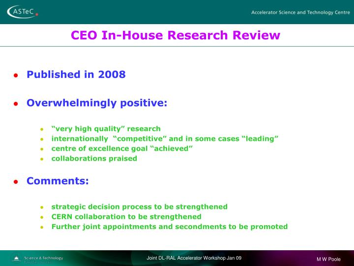 CEO In-House Research Review