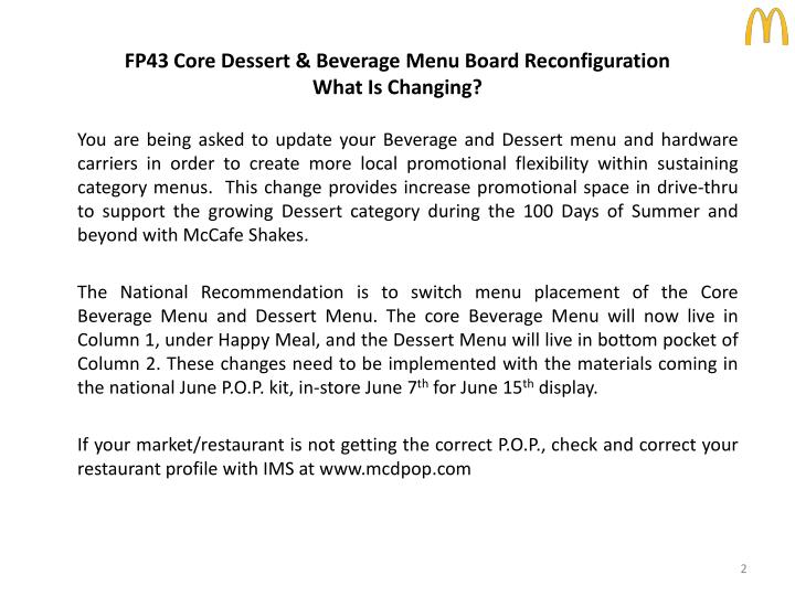 FP43 Core Dessert & Beverage Menu Board Reconfiguration