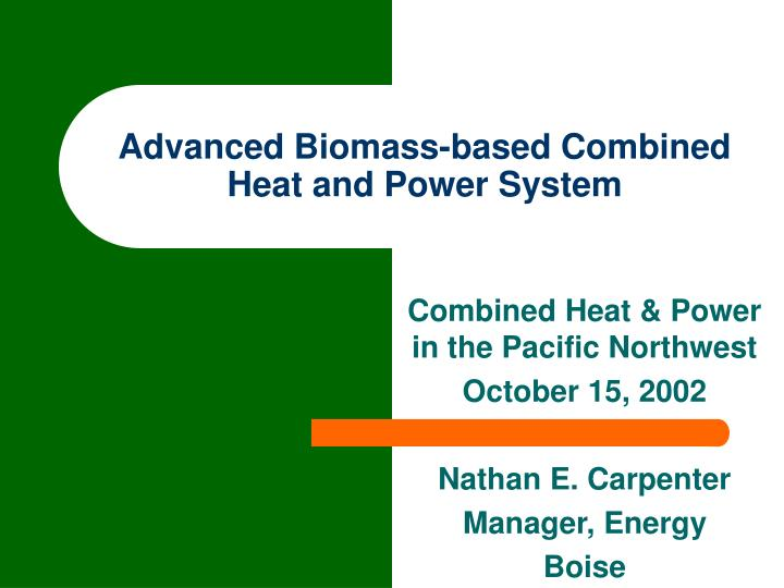 Advanced Biomass-based Combined Heat and Power System