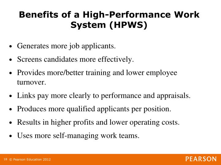 Benefits of a High-Performance Work System (HPWS)