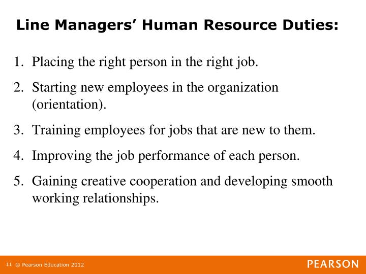 Line Managers' Human Resource Duties: