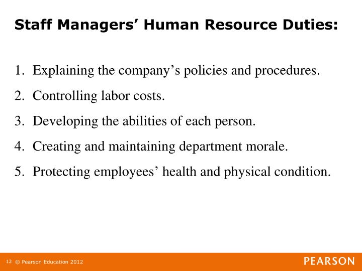 Staff Managers' Human Resource Duties: