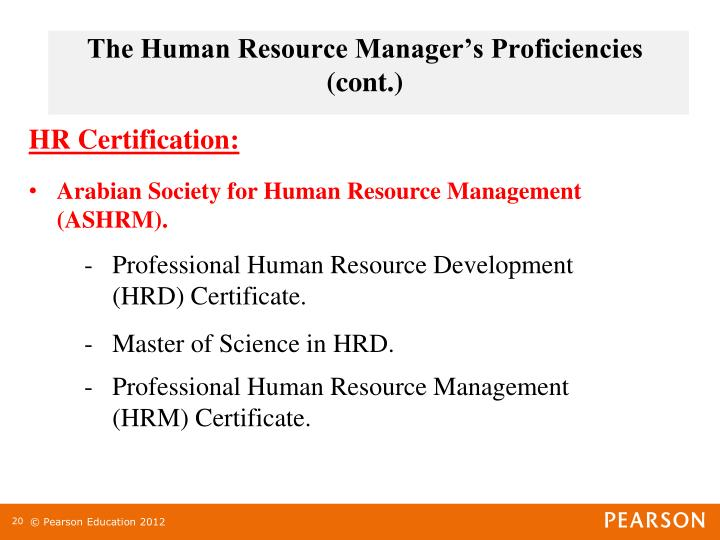 The Human Resource Manager's Proficiencies (cont.)