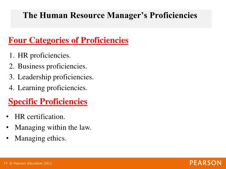 The Human Resource Manager's Proficiencies