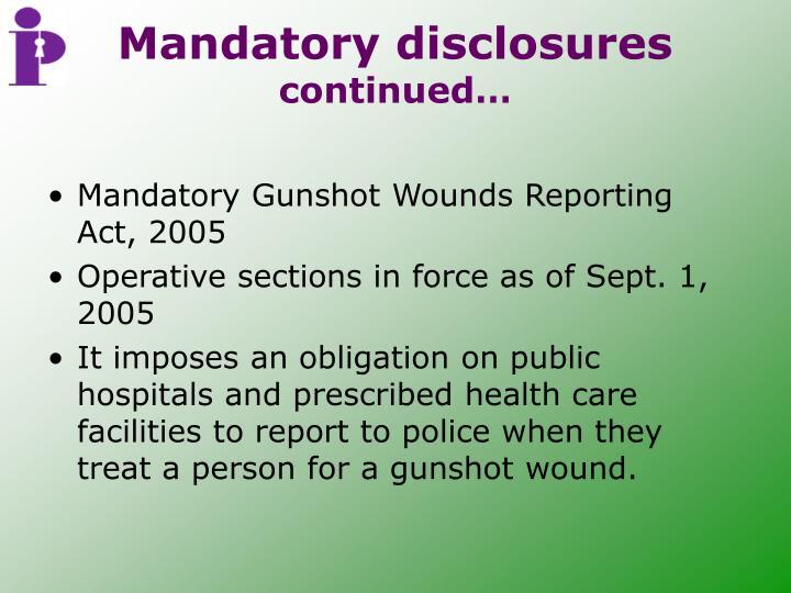 Mandatory disclosures