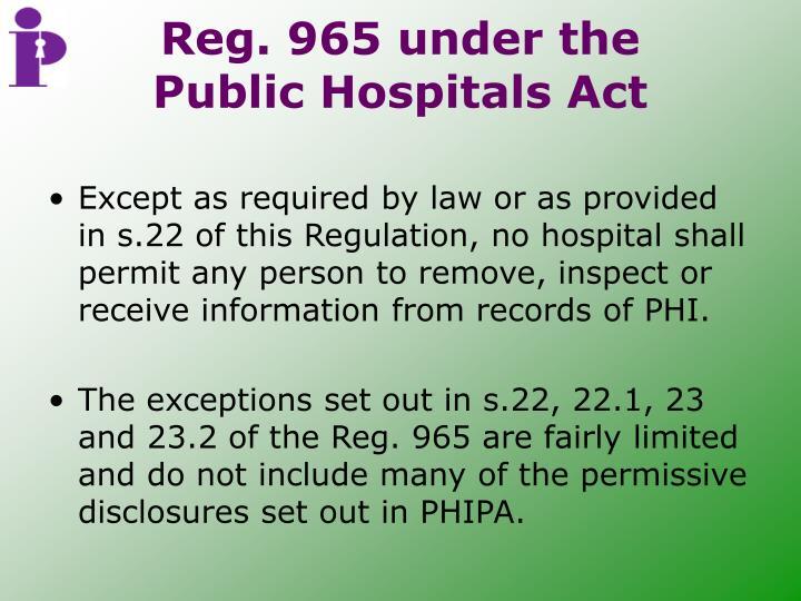 Reg. 965 under the Public Hospitals Act