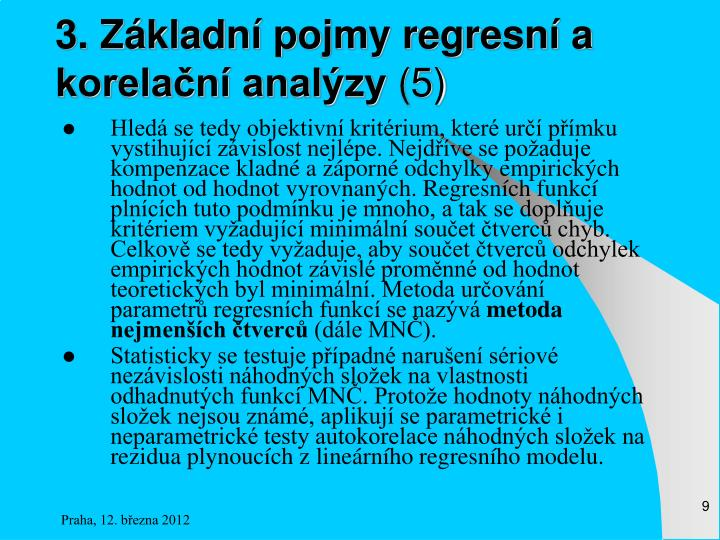 3. Základní pojmy regresní a korelační analýzy