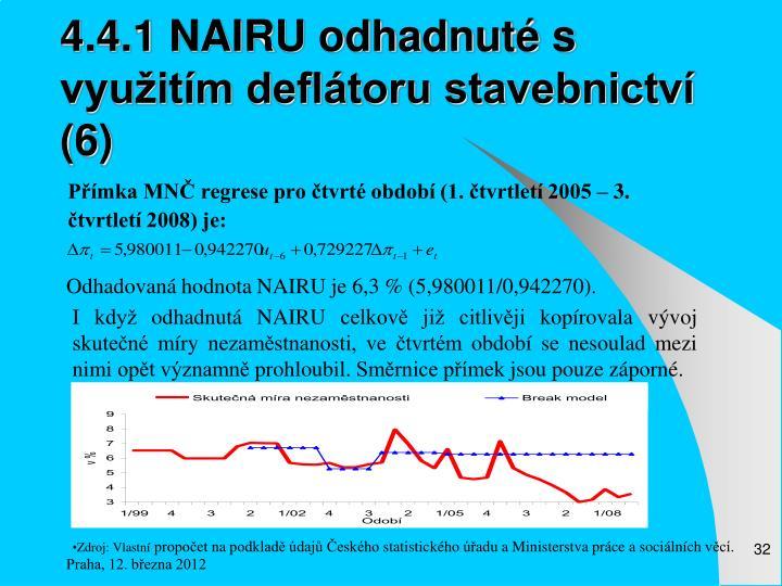 4.4.1 NAIRU odhadnuté s využitím deflátoru stavebnictví (6)