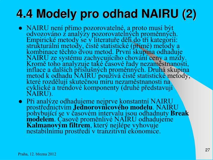 4.4 Modely pro odhad NAIRU (2)