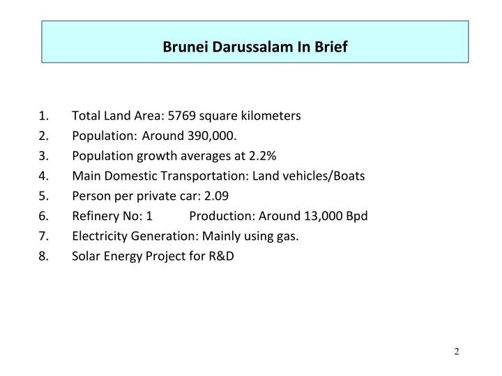 Brunei darussalam in brief