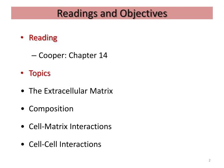 Readings and objectives