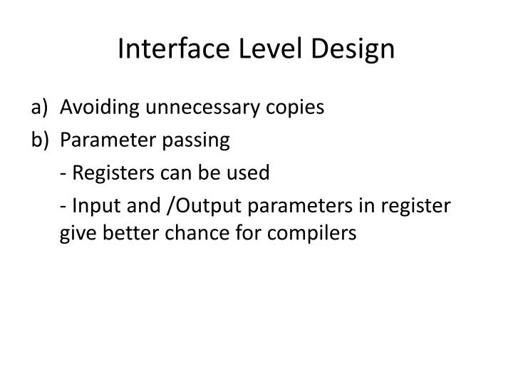 Interface Level Design