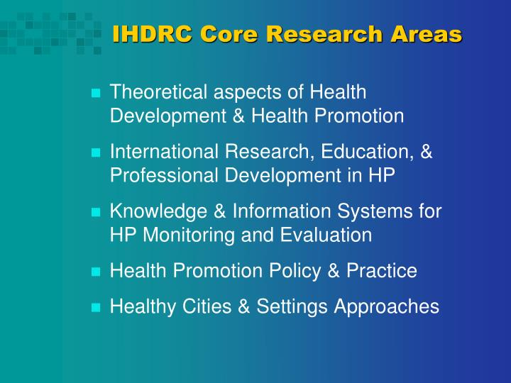 IHDRC Core Research Areas