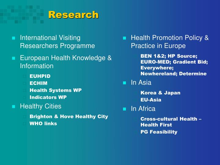 International Visiting Researchers Programme