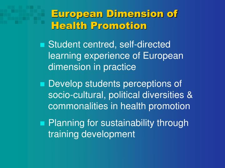 European Dimension of Health Promotion