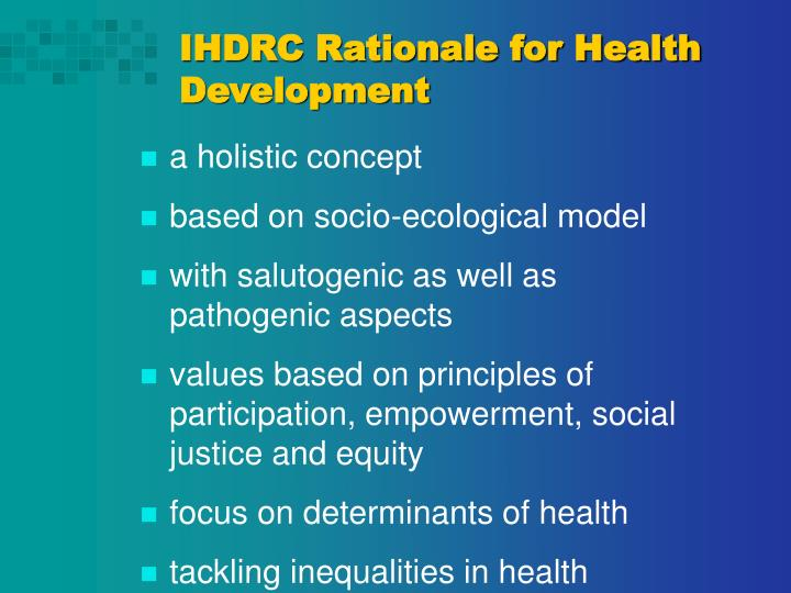 IHDRC Rationale for Health Development