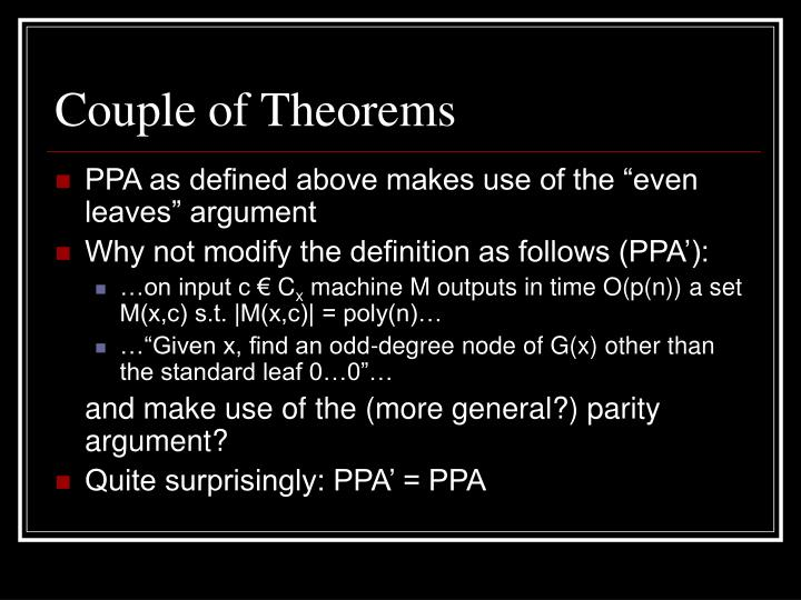 Couple of Theorems