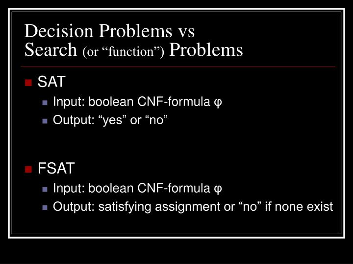 Decision Problems vs