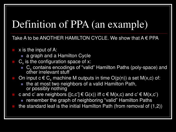 Definition of PPA (an example)