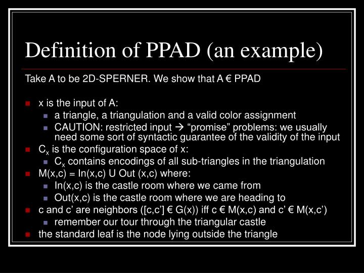 Definition of PPAD (an example)