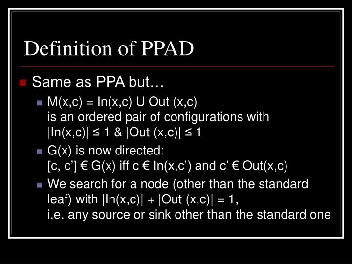 Definition of PPAD