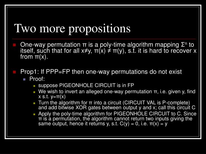 Two more propositions