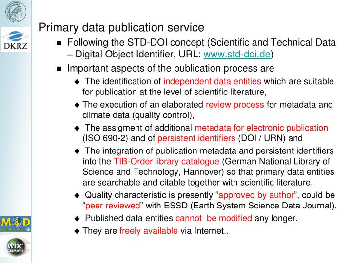 Primary data publication service