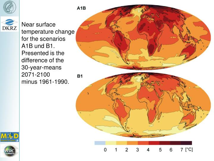 Near surface temperature change for the scenarios