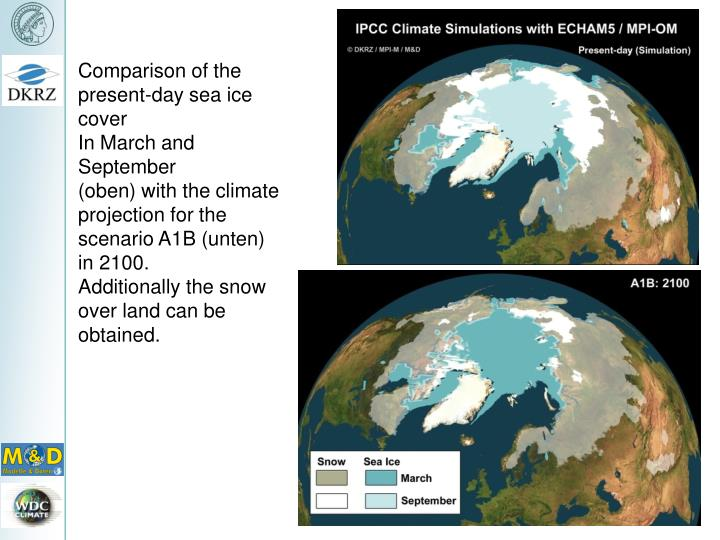 Comparison of the present-day sea ice cover